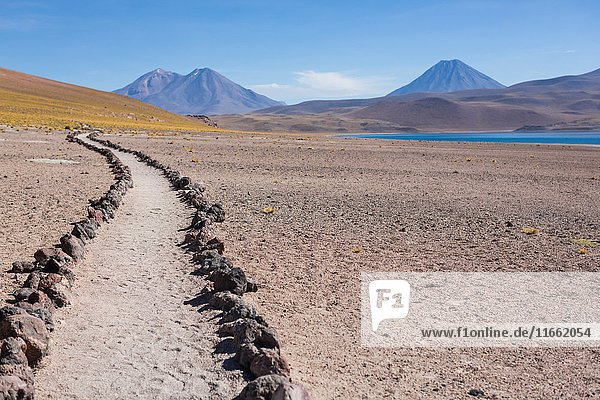 Path in sand in desert  San Pedro de Atacama  Chile