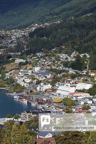 New Zealand  South Island  Otago  Queenstown  elevated town view  morning.