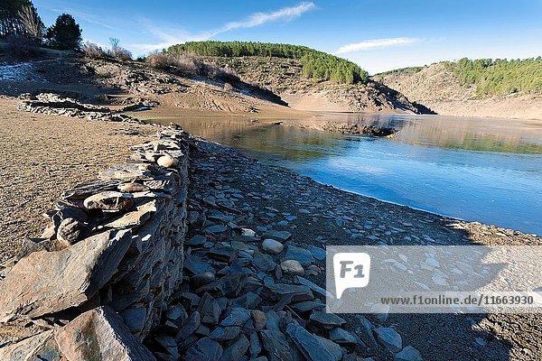 Drought at Vado reservoir in the Sierra Norte. Guadalajara. Castilla la Mancha. Spain. Europe.