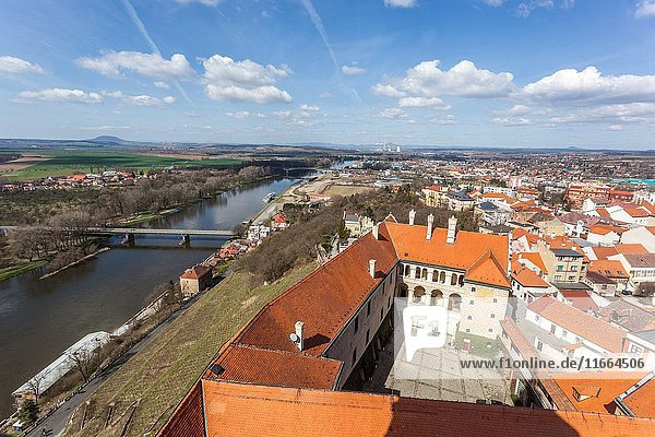 Aerial view of Gothic tower of the church  castle and landscape of the Elbe river  Melnik  Czech Republic  Europe.