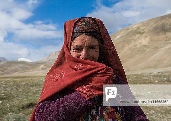Portrait of a wakhi nomad woman  Big pamir  Wakhan  Afghanistan.
