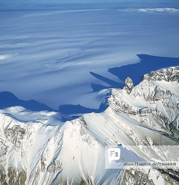 Nunataks- Peaks on Vatnajokull Ice Cap  Iceland.