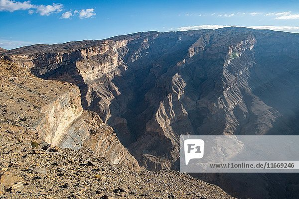 View down into gorge at Jebel Shams  the Grand Canyon on Oman.