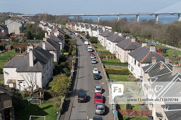 Looking down roofs on row of houses in South Queensferry Scotland  United Kingdom.