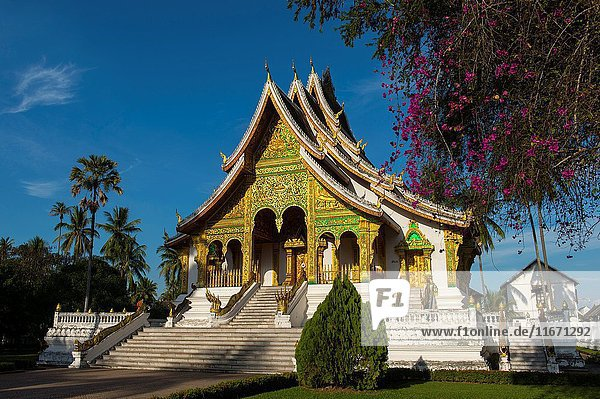 The Haw Pha Bang (the Royal temple) at the Royal Palace Museum in the UNESCO world heritage town of Luang Prabang in Central Laos.