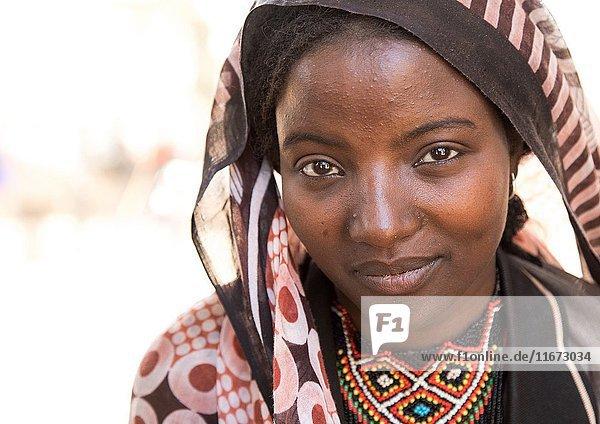 Portrait of a smiling Borana tribe young woman  Oromia  Yabelo  Ethiopia.