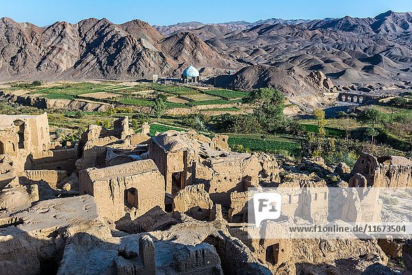 Mud bricked buildings in old  abandoned part of Kharanaq village in Ardakan County  Yazd Province  Iran.