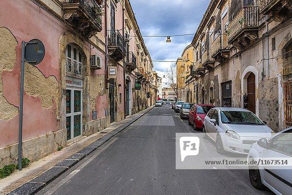 Narrow street in Syracuse city  southeast corner of the island of Sicily  Italy.