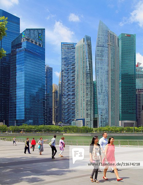 Singapore  business district skyline  people .