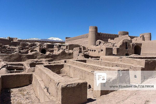 Ancient adobe citadel in Rayen  a small town in the skirts of Mt. Hezar  100 km from Kerman. Iran.