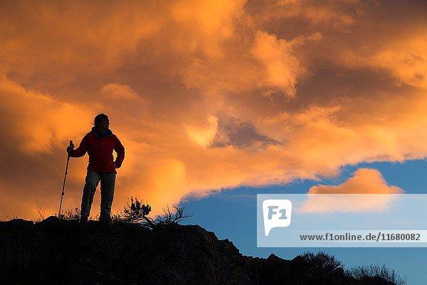 Hiker sunset silhouette  Quincy Lakes Unit - Desert Basin Wildlife Area  Washington.