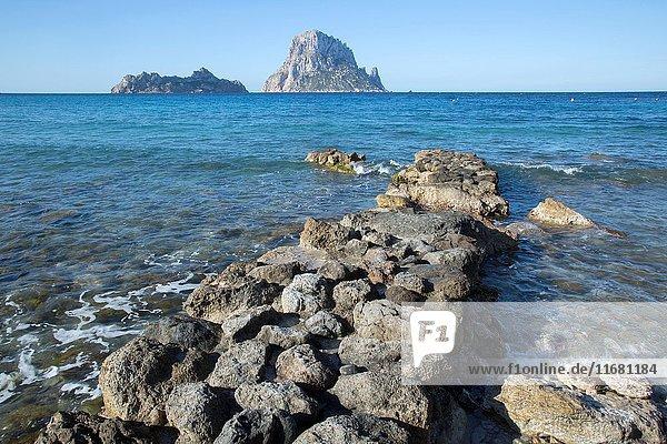 Hort Cove Beach and Vedra Island  Ibiza  Spain .