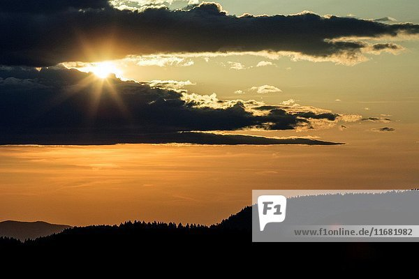 Sunset from Art Loeb Trail near Black Balsam Knob - Blue Ridge Parkway  North Carolina  USA.