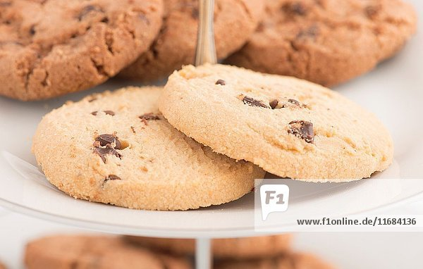 Chocolate chip cookies on plate in close up. Sweet food  dessert or snack.