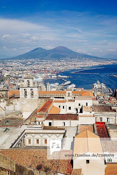 Naples  Vesuvius and buildings from San Martino. Campania  Italy.