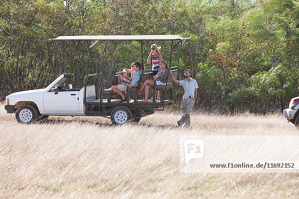 Young people on safari in off road vehicle  Stellenbosch  South Africa