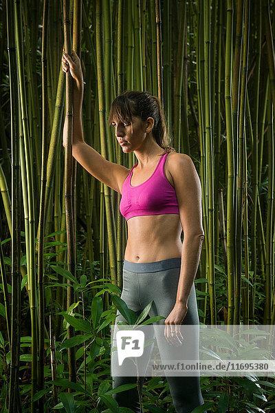 Läufer im Bambuswald stehend