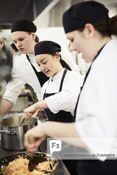 Köchinnen und Köche kochen in der Küche des Restaurants