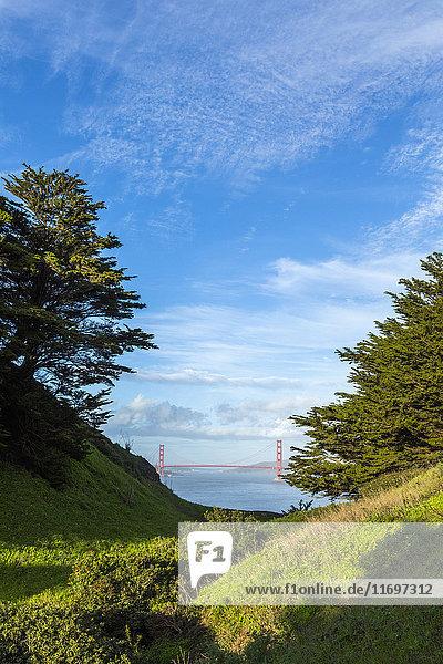 Scenic view of distant bridge