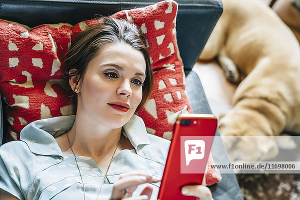 Woman laying on sofa near dog texting on cell phone
