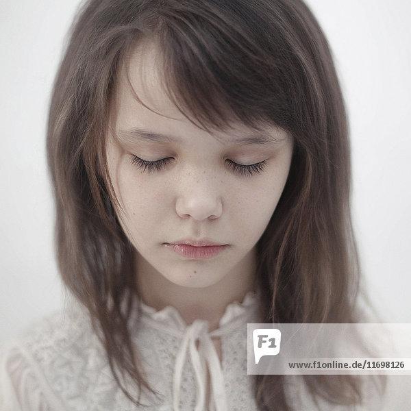 Portrait of sad Caucasian girl Portrait of sad Caucasian girl