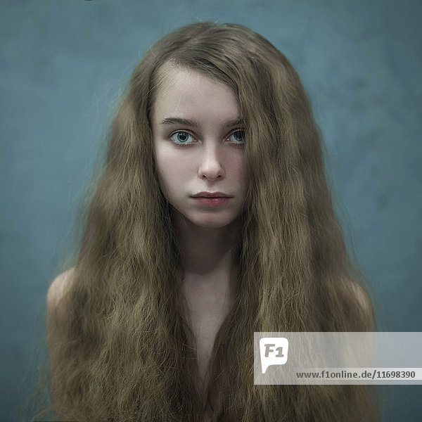 Portrait of Caucasian woman with long hair Portrait of Caucasian woman with long hair