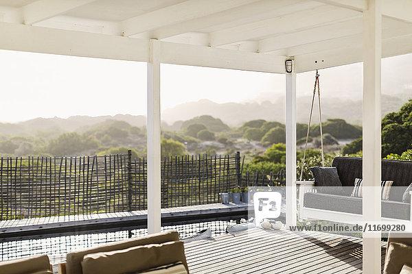 Sunny modern home showcase patio