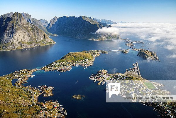 Norway  Nordland  Lofoten islands  Moskenesoy island  view of the fishing villages of Reine  Sakrisoy  Toppoy and Hamnoy from Reinebringen (448m).