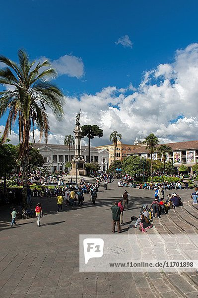 People on the Plaza Grande (formally known as Plaza de la Independencia) in the historic center (UNESCO World Heritage Site) of the city of Quito  Ecuador.