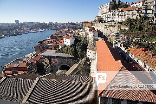 Aerial view of the old town in Porto from Dom Luis the first bridge on January 7  2017 Portugal.