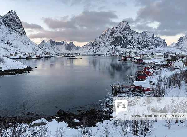 Village Reine on the island Moskenesoya. The Lofoten Islands in northern Norway during winter. Europe  Scandinavia  Norway February.