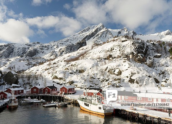 Open air museum Nussfjord on the island of Flakstadoya. The Lofoten Islands in northern Norway during winter. Europe  Scandinavia  Norway February.