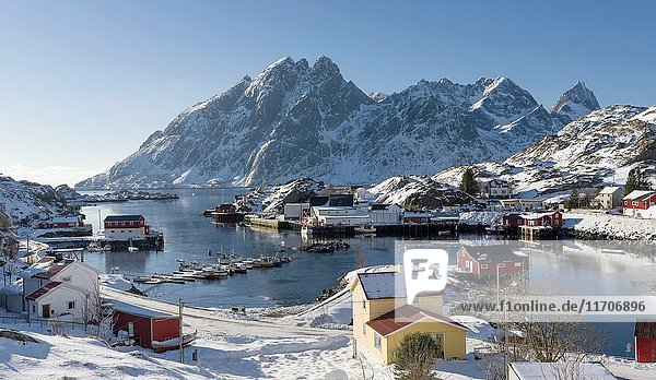 The harbour of Sund. Fishing village Sund on the Lofoten Islands in northern Norway during winter. Europe  Scandinavia  Norway February.
