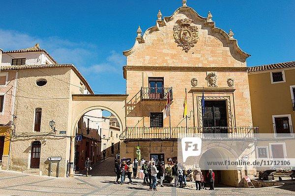 View of the Town Hall during 'Los Miercoles de Chinchilla'  old tradition in Chinchilla de Montearagón  Albacete Province  Spain