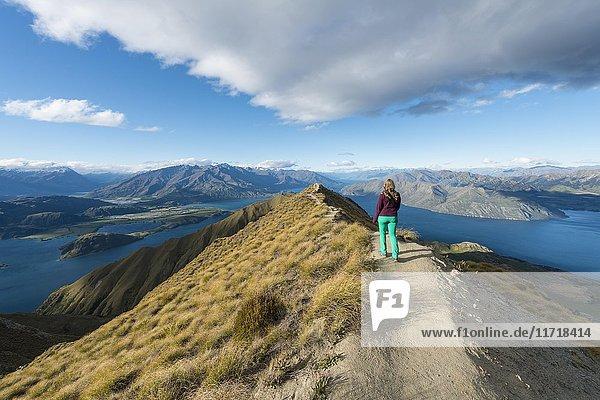 Woman hiking on ridge  view of mountains and lake  Roys Peak  Lake Wanaka  Southern Alps  Otago Region  Southland  New Zealand  Oceania