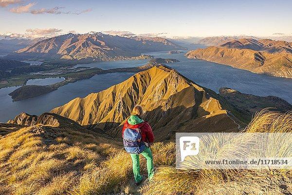 Wanderin auf Weg zum Gipfel des Roys Peak,  Abendlicht,  Ausblick auf Berge und See,  Lake Wanaka,  Südalpen,  Otago,  Südinsel,  Neuseeland,  Ozeanien