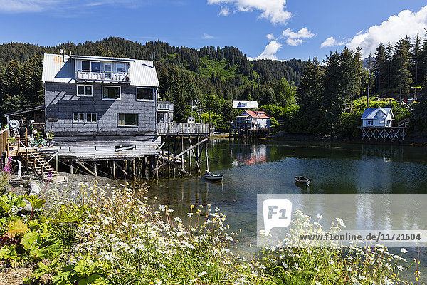 View of waterfront homes and shops in Seldovia  Southcentral Alaska  USA