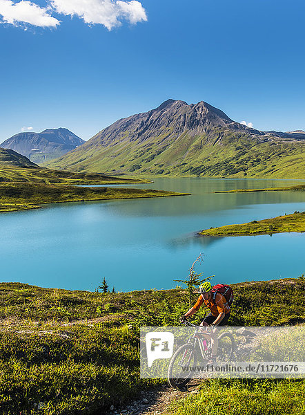 A man riding a mountain bike on the Lost Lake Trail near Seward  Southcentral Alaska  USA