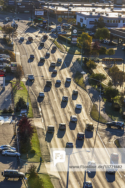 Aerial view of traffic on Benson Boulevard on a bright sunny day  Anchorage  Southcentral Alaska  USA