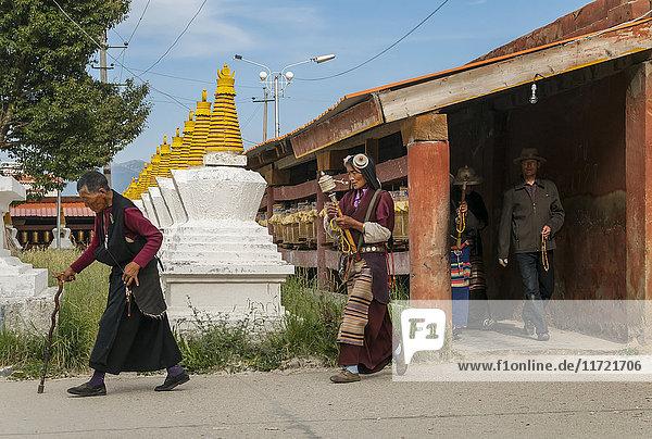 'Entrance to a big Tibetan stupa in Litang village; Litang  Sichuan province  China'