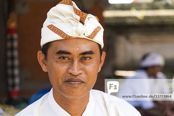 'Portrait of a man at a Hindu temple; Bali Island  Indonesia'