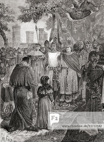 Louis IX of France holding a royal court of justice under an oak tree in the forest of Vincennes  Paris  France in the 13th century. Louis IX  1214 – 1270  aka Saint Louis. King of France. From a 19th century print.