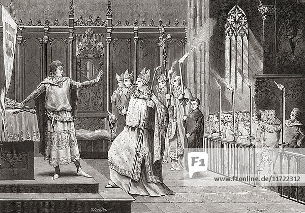 The coronation of Peter IV as King of Aragon in 1336. Peter IV  1319 – 1387. King of Aragon  King of Sardinia and Corsica as Peter I  King of Valencia as Peter II  and Count of Barcelona and the rest of the Principality of Catalonia as Peter III. After a 19th century print.