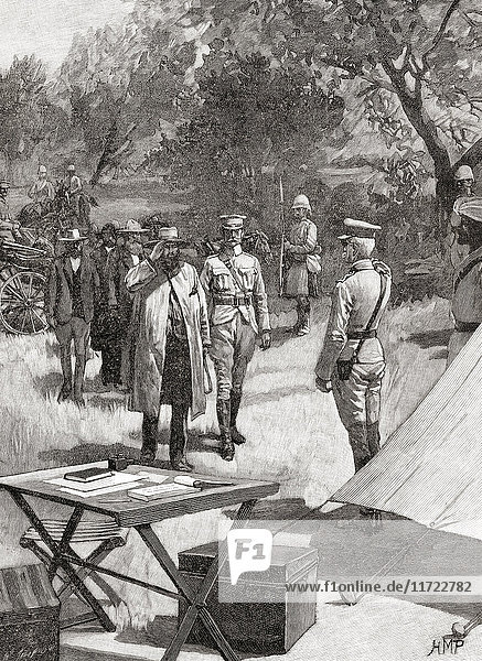 The surrender of General Cronje after the Battle of Paardeberg or Perdeberg  South Africa  27 February 1900 during the Second Boer War. Pieter Arnoldus Cronjé  aka Piet Cronjé  1836 – 1911. General of the South African Republic's military forces during the Anglo-Boer wars of 1880-1881 and 1899-1902. From The Century Edition of Cassell's History of England  published c. 1900.