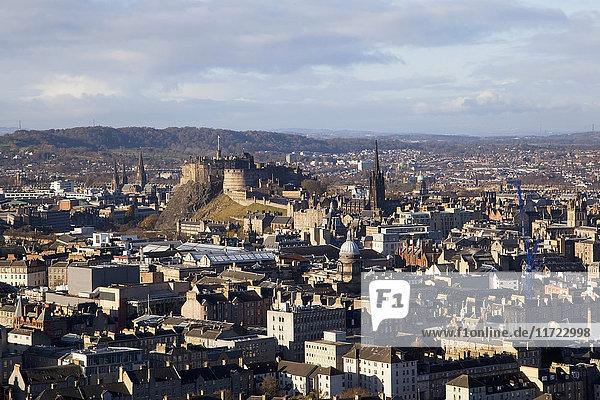 'Cityscape Of Edinburgh With A View Of A Castle; Edinburgh  Scotland'