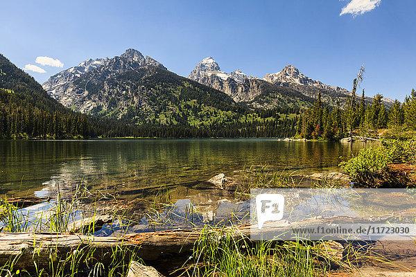 'Taggart Lake and Grand Teton  Grand Teton National Park; Wyoming  United States of America'