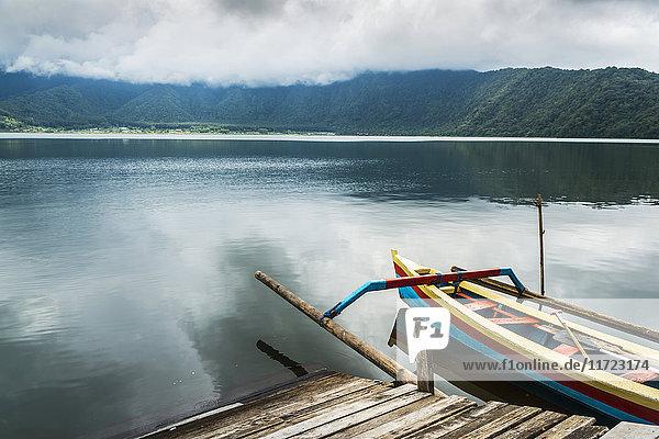 'A boat in Danau Buyan lake; Bali Island  Indonesia'