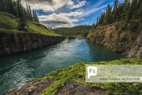 'Water flows through Miles Canyon; Whitehorse  Yukon  Canada'