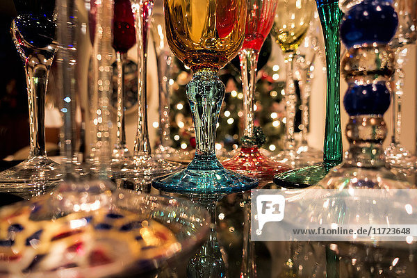 'Reflections of Christmas tree lights and champagne flutes sparkle on shiny granite counter; Anchorage  Alaska  United States of America'