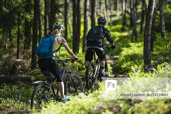 Man and woman riding bicycles in forest
